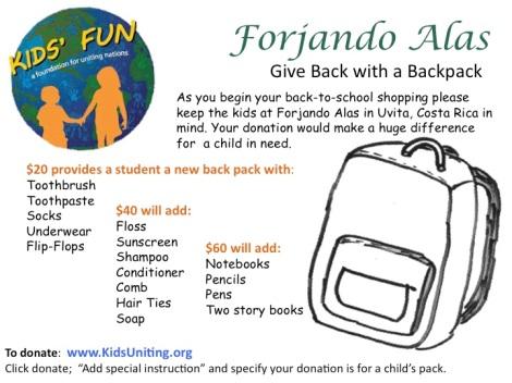 Donate Backpack School Supplies