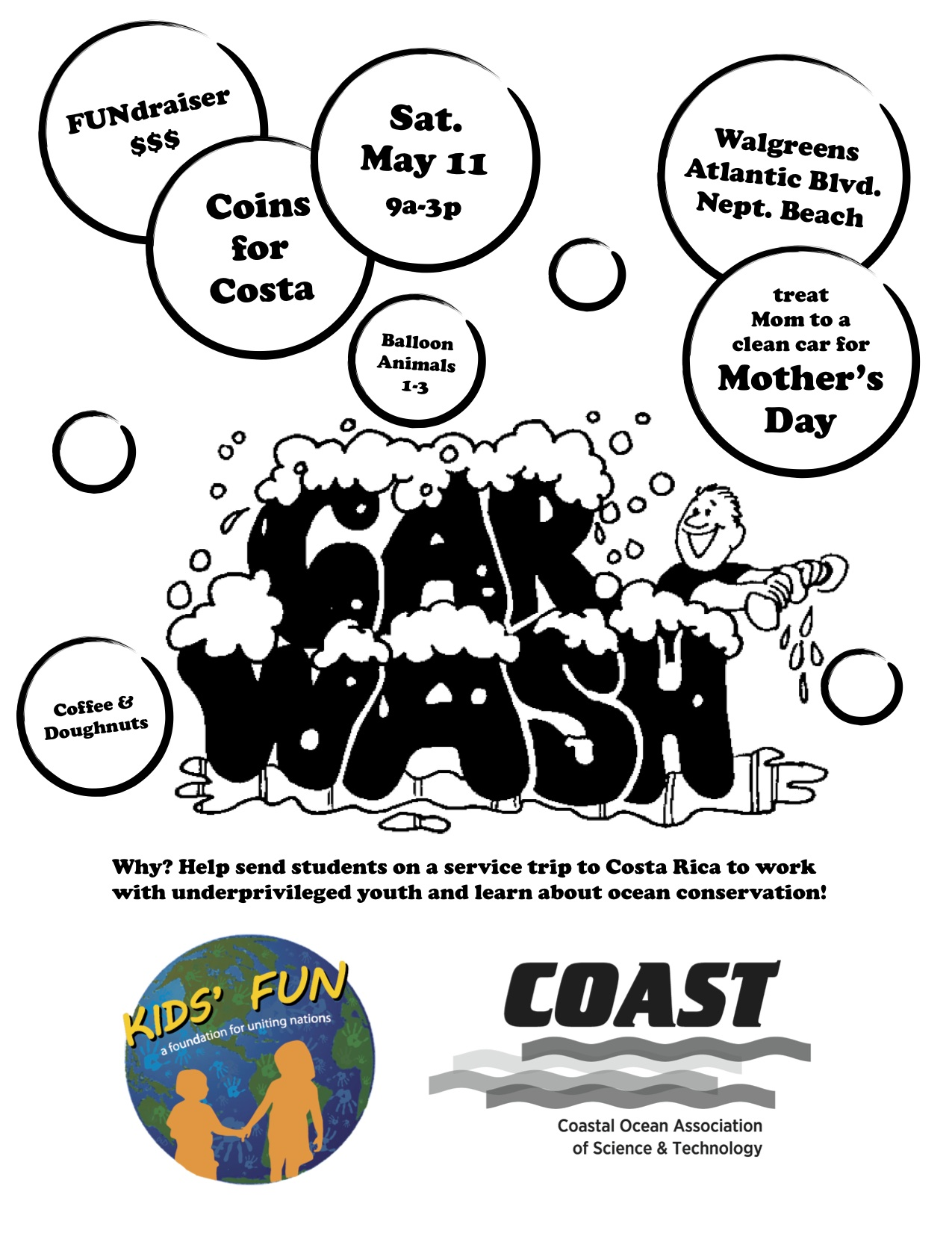 Coast Fun Trip Car Wash Flyer Kids F U N
