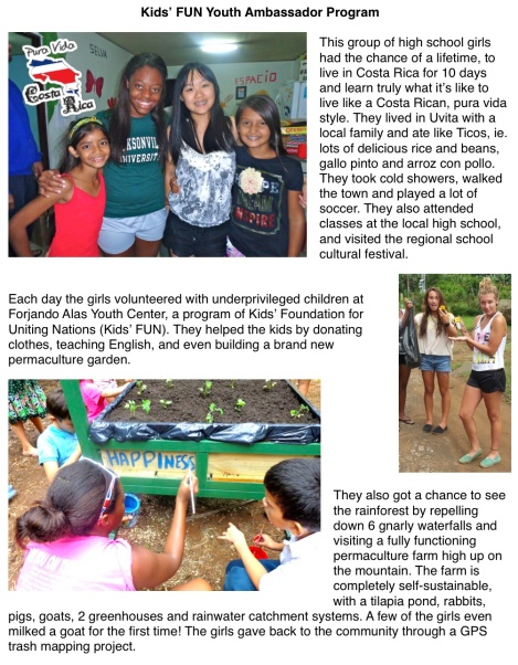 Kids' FUN Youth Ambassador Newspaper Article p1